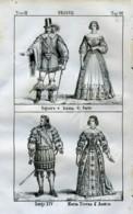 Stampa Incisione Costumi Europa Francia Luigi XIV Maria Teresa D' Austria - Estampas & Grabados