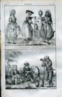 Stampa Incisione Costumi Europa Francia Marsiglia Montaubon Wasgau - Estampas & Grabados