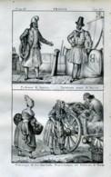 Stampa Incisione Costumi Europa Francia Normanni Ostricara - Estampas & Grabados