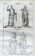 Stampa Incisione Costumi Europa Italia Antica Roma - Estampas & Grabados
