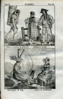Stampa Incisione Costumi Europa Svizzera Friburgo Zurigo Neuchatel - Estampas & Grabados