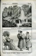 Stampa Incisione Costumi Europa Svizzera  Switz Altorf Cascata Di Staubach - Estampas & Grabados