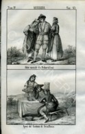 Stampa Incisione Costumi Europa Svizzera Sciaffusa Friburghesi - Prenten & Gravure