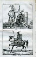 Stampa Incisione Costumi Europa Germania Antica - Estampas & Grabados