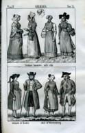 Stampa Incisione Costumi Europa Germania Baviera Baden Witemberg - Prenten & Gravure