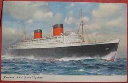 Künstlerkarte RMS Queen Elisabeth - Cunard Line - Paquebots