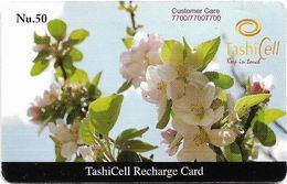 Bhutan - TashiCell - White Flower (Reverse #2) - GSM Refill 50Nu, Used - Butan