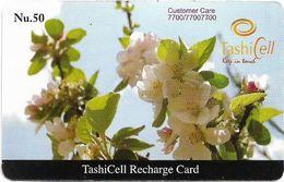 Bhutan - TashiCell - White Flower (Reverse #3) - GSM Refill 50Nu, Used - Butan