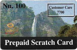 Bhutan - TashiCell - Prepaid Scratch Card, Waterfall - GSM Refill 100Nu, Used - Butan
