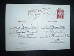CP EP PETAIN 1F20 OBL.MEC.12 IX 1942 PARIS RP DEPART Louise RIGO à Claude RIGO CHAZEUIL ALLIER (03) - Marcophilie (Lettres)