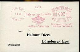 55914  Germany Reich, Red Meter Freistempel Ema, Ahlen, 1929 Felsen Emaill  Adler, - Arends & Roofvogels