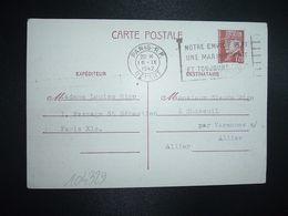 CP EP PETAIN 1F20 OBL.MEC.16 IX 1942 PARIS RP DEPART Louise RIGO à Claude RIGO CHAZEUIL ALLIER (03) - Marcophilie (Lettres)