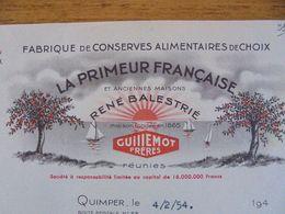 FACTURE - 29 - DEPARTEMENT DU FINISTERE - QUIMPER 1954 - LA PRIMEUR FRANCAISE : RENE BALESTRIE - Unclassified
