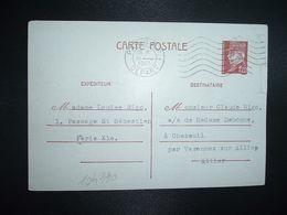 CP EP PETAIN 1F20 OBL.MEC.18 I 1943 PARIS RP DEPART Louise RIGO à Claude RIGO CHAZEUIL ALLIER (03) - Marcophilie (Lettres)