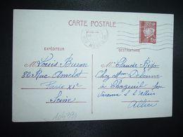 CP EP PETAIN 1F20 OBL.MEC.16 IX 1942 PARIS XI Louis BURON à Claude RIGO CHAZEUIL ALLIER (03) - Marcophilie (Lettres)
