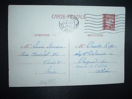 CP EP PETAIN 1F20 OBL.MEC.10 XII 1942 PARIS XI Louis BURON à Claude RIGO CHAZEUIL ALLIER (03) - Marcophilie (Lettres)
