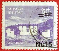 "110. BHUTAN USED STAMP CHAPCHA DZONG ""SURCHARGED"" . - Bhoutan"