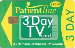 UK - Patientline - 3 Day TV Card (Green & Yellow), Cn. 1PLFFK Bold, 10£, Used - Royaume-Uni