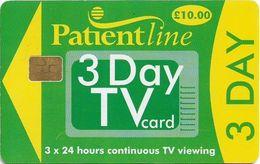 UK - Patientline - 3 Day TV Card (Green & Yellow), Cn. 1PLFFK Light, 10£, Used - Royaume-Uni