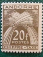 1937-43 ANDORRE FRANCAIS CHIFFRE TAXE Y&T N° 31 ** - Nuevos