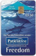 UK - Patientline - Freedom, Dolphins (Type #2), Chip Gem5 Red, Cn. 1PLFFB, 3,5£ (Big FV), Used - Royaume-Uni