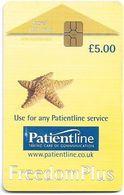 UK - Patientline - Freedom Plus, Starfish (Type #2), Chip Gem5 Red, Cn. 1PLFFA, 5£ (Big FV), Used - Royaume-Uni