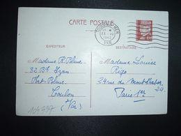 CP EP PETAIN 1F20 OBL.MEC.23 VI 1942 TOULON S/MER VAR (83) R. BLANC à Louise RIGO PARIS 01 - Marcophilie (Lettres)