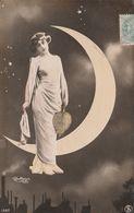 CPA Femme Lady Women Glamour Surréalisme Astre Croissant De Lune Rutlinger N° 1367 Fantaisie (2 Scans) - Mujeres
