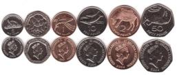 St. Helena - Set 6 Coins 1 2 5 10 20 50 Pence 1997 - 2006 UNC Lemberg-Zp - Saint Helena Island