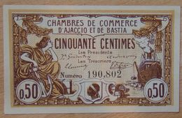 Ajaccio Et Bastia ( 20 Corse  ) 50 Centimes Chambre De Commerce  16 Août 1915 - Chambre De Commerce