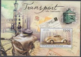 Burundi 2012 - Transport Du Courrier, Mail Carrying Bicycle, Royal Air Mail Automobile - Miniature Sheet ** MNH - Wielrennen