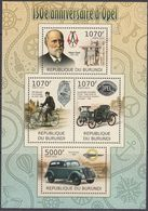 Burundi 2012 - 150th Anniversary Of Opel: Bicycle, Automobiles, Sewing Machine - Miniature Sheet ** MNH - Wielrennen