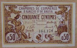 Ajaccio Et Bastia ( 20 Corse  ) 50 Centimes Chambre De Commerce  30 Avril 1917 Série B - Chambre De Commerce