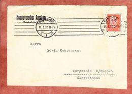 Vorderseite, Hindenburg, MS Band Striche Hannover, Nach Worpswede 1932 (95801) - Germany