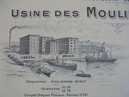 FACTURE VIERGE - 29 - DEPARTEMENT DU FINISTERE - BREST  - MOULINS ST GEORGES, USINE DES MOULINS BRESTOIS - Frankreich