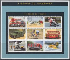Togo 2010 - History Of Transport: Bicycle, Motorcycle, Hummer, Jaguar, Double-decker, Ski-doo - Miniature Sheet ** MNH - Vélo