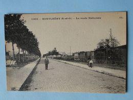 MONTLERY -- La Route Nationale - Petite ANIMATION - Loco Et Wagons Sur La Droite - Montlhery