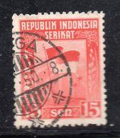 W453 - INDONESIA 1950 , 15 Sen Bandiera Flag Usato - Indonesia