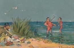 Donadini Artist Signed Image Men At Beach Clothes Stolen C1900s Vintage Postcard - Donadini, Antonio
