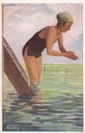 Ernst Busch Artist Signed 'Sea Stars The First Attempt' Woman Swimsuit Beach Scene C1920s Vintage Postcard - Illustratori & Fotografie