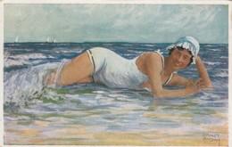 Ernst Busch Artist Signed 'Water Rats: Water Rat' Woman Swimsuit Beach Scene C1920s Vintage Postcard - Illustratori & Fotografie