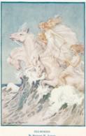 Margaret Tarrant Artist Signed 'Sea-Horses' Fairies Girls Ride Horses In Waves C1930s Vintage Medici Society Postcard - Illustratori & Fotografie