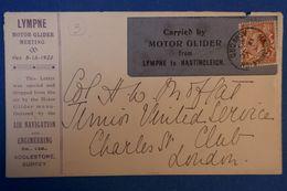 D21 GRANDE BRETAGNE  LETTRE  RARE 1923 PLANNEUR  MOTOR GLIDER POUR LONDON + AFFRANCHISSEMENT PLAISANT - 1902-1951 (Rois)