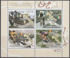 Guinea-Bissau 2009 - Champions Of Giro D'Italia: Cipollini, Moser, Merckx, Vlaeminck - Miniature Sheet ** MNH - Wielrennen