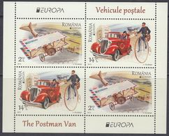 Romania 2013 - EUROPA Stamps: Postal Vehicles, High Bicycle, Automobile - Miniature Sheet ** MNH - Wielrennen