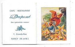 """1969 - Petit Calendrier Illustré D'oiseaux De Paradis (Paradisier) Publicité CAFE RESTAURANT """"DUPONT"""" à NANCY (Met M) - Formato Piccolo : 1961-70"""