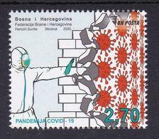 Bosnia Sarajevo 2020 Covid 19 Health Disease Medicine Doctors Stamp MNH - Malattie