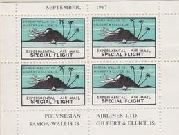 Vignette En Bloc De 4 Dentelée,Vol Spécial Expérimental Polynésie - Samoa Wallis Is., Septembre 1967 - Poste Aérienne