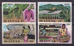 SANTA LUCIA 1973 - INDUSTRIA DE LA BANANA - YVERT Nº 336/339** - Avions