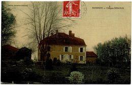 CPA Mimbaste 40. Château Deslous. Carte Toilée, Colorée, 1909 - Zonder Classificatie